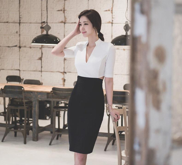 hân váy bút chì kết hợp với áo gì