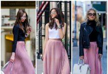 Chân váy màu hồng mặc với áo màu gì